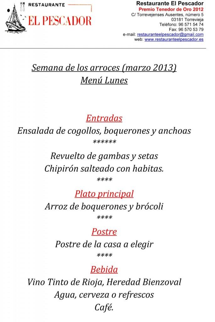 Menu-4-lunes-semana-de-los-arroces-Torrevieja---Restaurante-El-Pescador---marzo-2013-1
