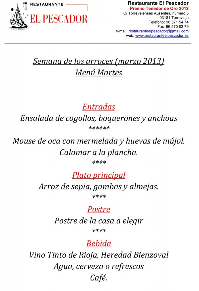Menu-5-martes-semana-de-los-arroces-Torrevieja---Restaurante-El-Pescador---marzo-2013-2