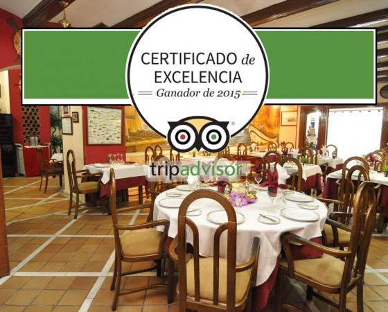 Certificado de excelencia en Tripadvisor. Ganador de 2015