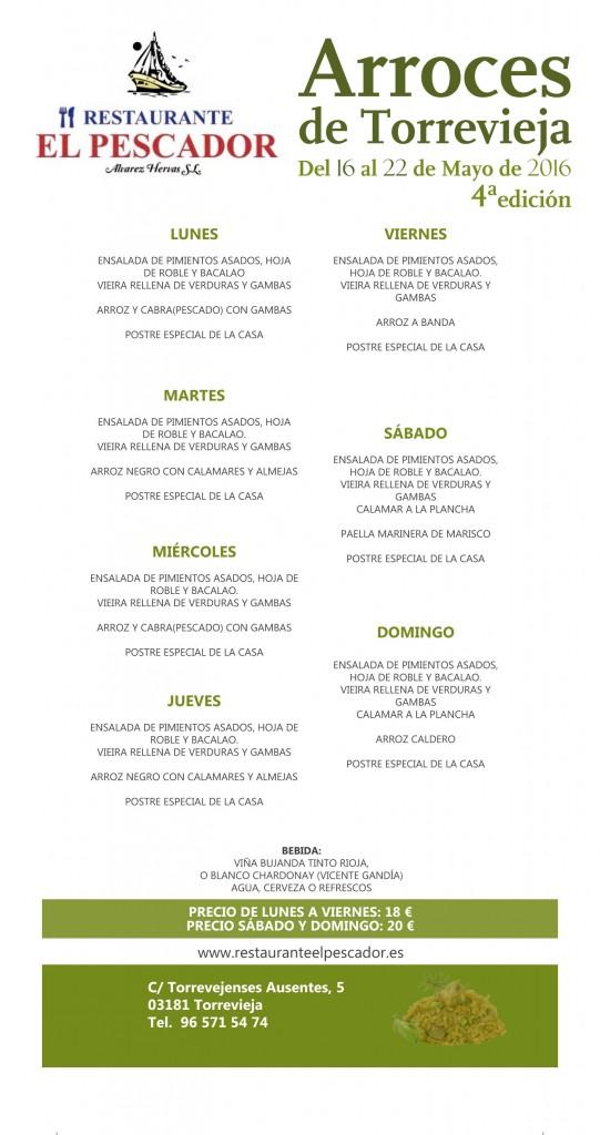 Menus-Restaurante-El-Pescador-Semana-de-los-arroces-Torrevieja-2016